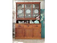 Antique vintage solid oak sliding door Victorian dresser