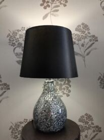 bedside lamp with bulb, black shade