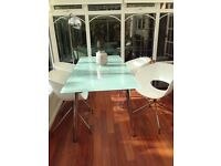 Contemporary Glass Dining Table 4 White Chairs For Sale