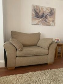 Used Like New 'NEXT BEIGE FABRIC SNUGGLE SEAT, LOVE SEAT ARM CHAIR' QUICK SALE BARGAIN!! 👌👌👌