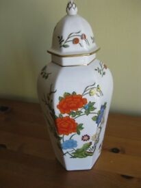 Decorative, floral vase with lid