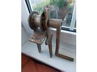 Solid Bronze vintage winch with handle. Naval gig centre-plate lifting gear