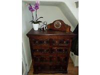 Beautiful Rustic Solid wood chest of drawers - 2 available - matching shelf unit available also