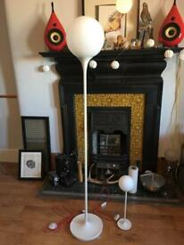 Late 60s / early 70s space age style lamps (x2) - floor lamp and table lamp.