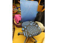 Compact office chair. Blue. Mesh backing. height adjustable. Good for kids room.