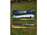 Hockey sticks and holdalls bargain £10 for the lot selling really cheap as need the space
