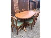 Large Antique Pine Farmhouse Table And 6 Chairs