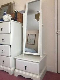 White swing mirror with 1 drawer