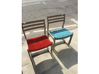 2x Chairs , nice shape and colours Feel free to view £30 each ...