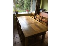 Oak Dining Table & 6 Chairs 1.8M x 0.9M Good Condition (Collect Only)