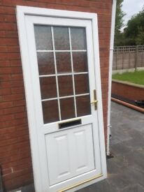 UPVC DOUBLE GLAZED FRONT/BACK DOOR WITH OBSCURE GEORGIAN GLASS 94CM can deliver