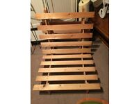 Beige wooden single futon with mattress