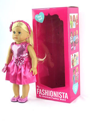Emma GIrl Doll, Dressed 18'' doll  by American Fashion World New in BOX