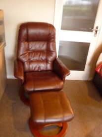 Leather Recliner with Footstool