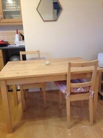 Dining room table with 2 chairs (can be sold separately)