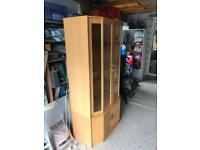 Oak drinks cabinet with display light