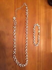 M&S Pearl effect necklance and bracelet set