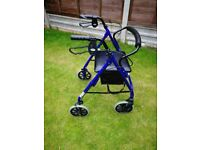 Days Lightweight Folding Four Wheel Rollator Walker with Padded Seat