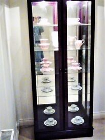 Mahogany Display Cabinet - Mirror Back, Interior Lighting, Adjustable 4 Shelf