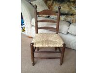 Lovely Old Oak Childs Chair, Spanish with Real Straw Rattan Seat