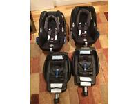 Maxi-cosi Cabriofix car seats with isofix base (two available)