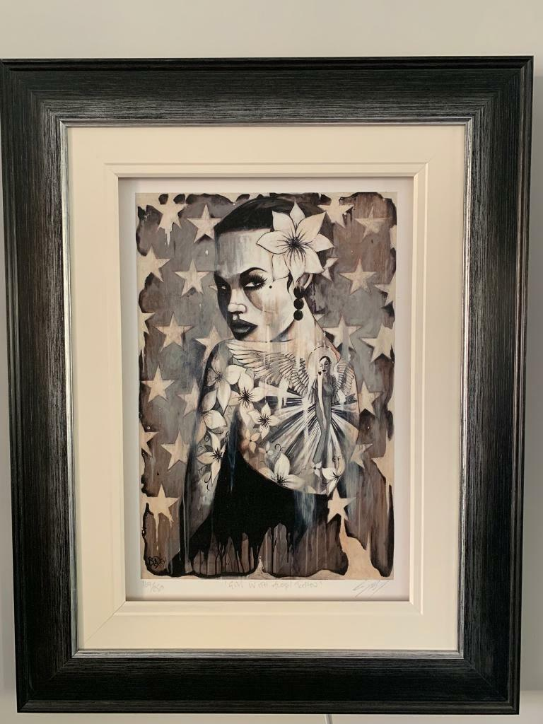 Girl With Angel Tattoo Terry Bradley Limited Edition Signed Framed Print