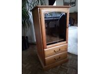 Ercol Style Glass Fronted Cabinet