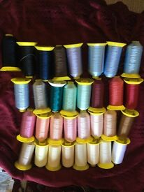 Job lot of colourful embroidery threads . Well over 100k metres of thread