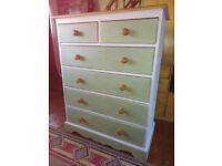 FLIPPED FURNITURE, 6 drawer chest/tallboy/upcycled/renovated