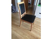 6 dining chairs, oak and black leather effect, £30 for all