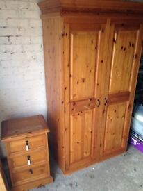 Oak wardrobe and chest of draws