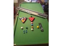 6'×3' pool and snooker table + pool and snooker balls + John Higgins snooker cue