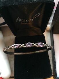 Silvery amethyst bracelet