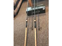 NASH 10ft cork handle scope rods x2 3lb t/c c/w Nash scope 10ft big pit double rod skin boxed