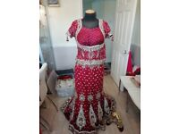 Asian bridal wedding dress lengha indian style size 10 red expensive used by model only brand new