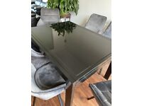 Italian Black a glass Extendable Table Only
