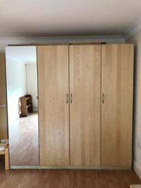 IKEA double and two single wardrobes with storage baskets