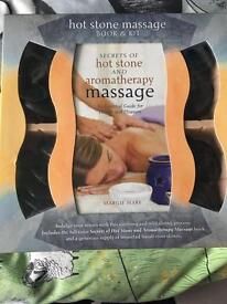 Hot stones massage kit and book
