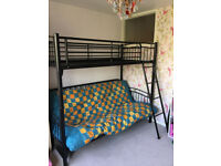 triple bunk bed black sofa bed convert into double bed and single bed on top
