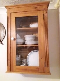 WALL UNIT - FEATURE CUPBOARD - PINE & GLASS