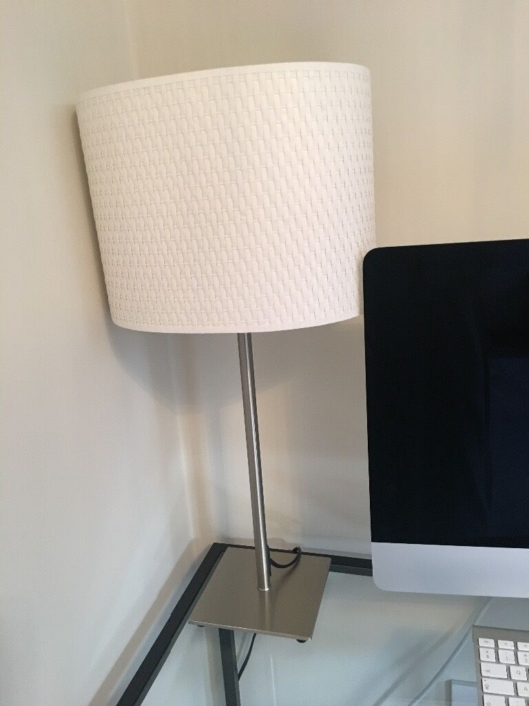 Free Ikea Tall Stainless Steel Table Lamp And Cream Shade
