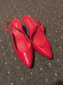 Ladies red heel sling back shoes