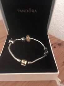 Pandora bracelet 14ct gold clasp 5 charms gold and silver as new only worn a few times