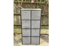Black wood double chest of drawers cupboard shelves with storage boxes