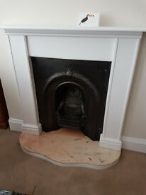 Victorian fireplace with contemporary surround + hearth