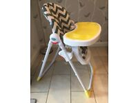 Baby and toddler highchair, My Babiie grey chevron