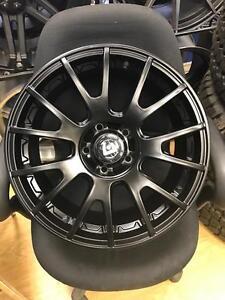 17 inch Motegi MR118 Wheels -- Matte Black -- 5x114.3