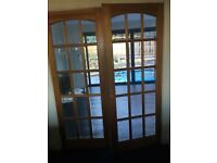 Doors - pair of double semi glazed wood doors - internal