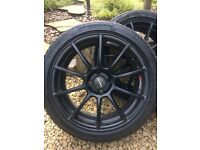 "205 x 17"" satin black wheels"
