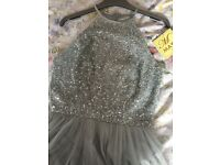 Beautiful Brand New Asos Maya Sequin and Tulle Full Length Pale Blue Dress Size 8
